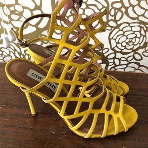 Steve Madden yellow cut-out heels